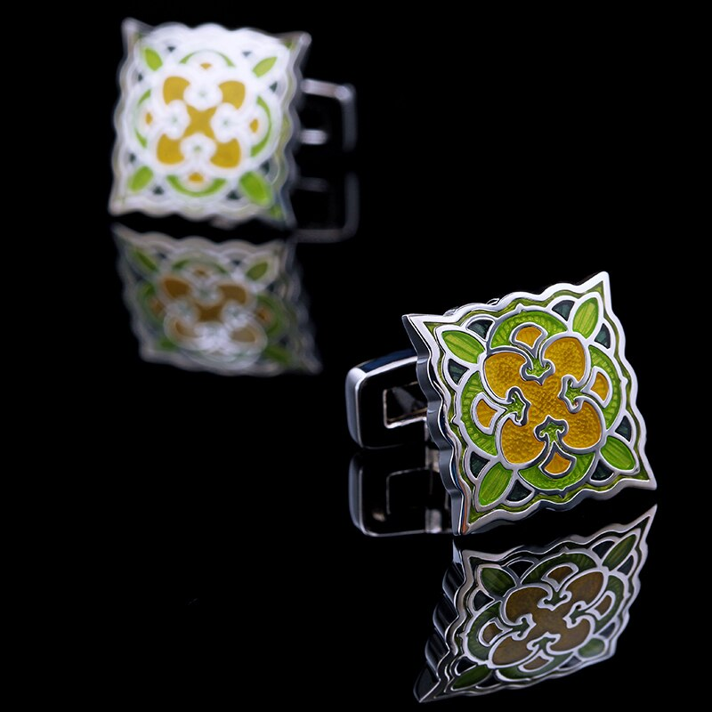 Green and yellow enamel Cufflinks