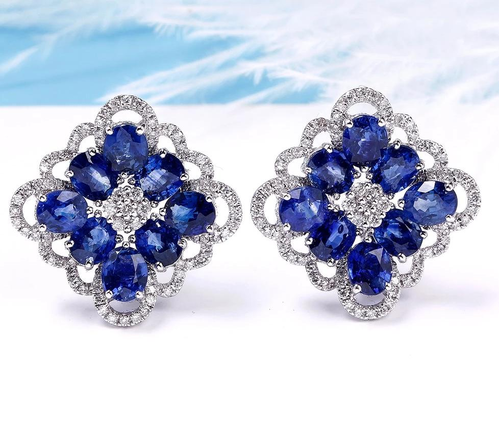 Oval Cut Natural Sapphire Clip Earrings