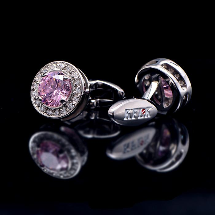 PINK CRYSTAL CUFFLINKS