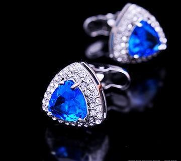 TRIANGLE BLUE CRYSTAL CUFFLINKS
