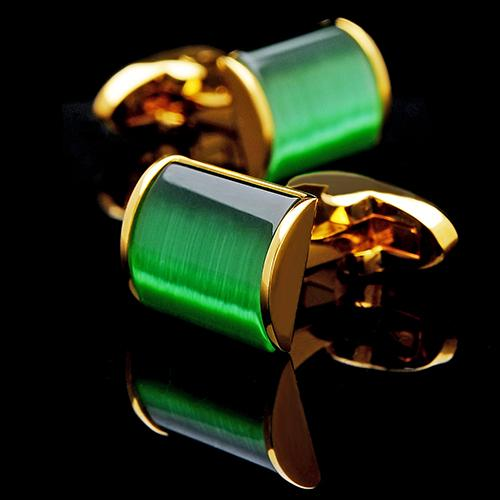 GOLD GREEN CUFFLINKS