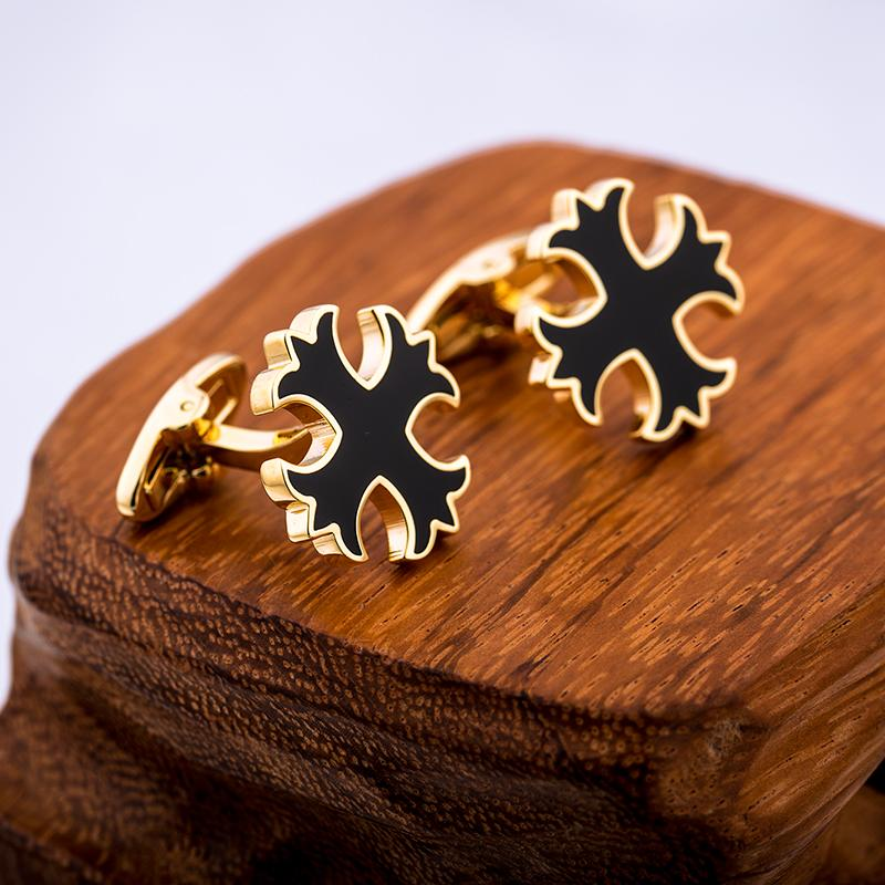 GOLD BLACK CROSS CUFFLINKS