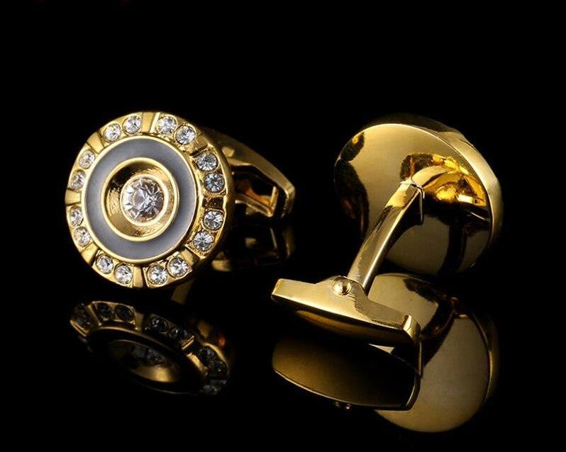 GOLD CRYSTAL ROUND CUFFLINKS