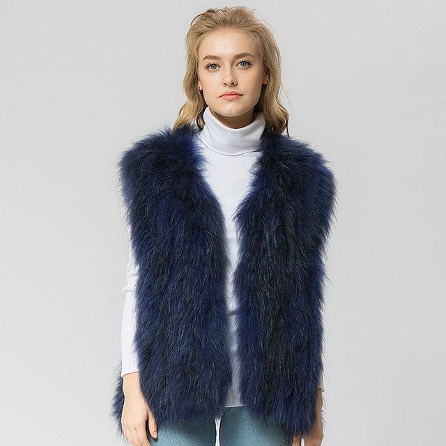 Knitted raccoon fur vest/ jacket