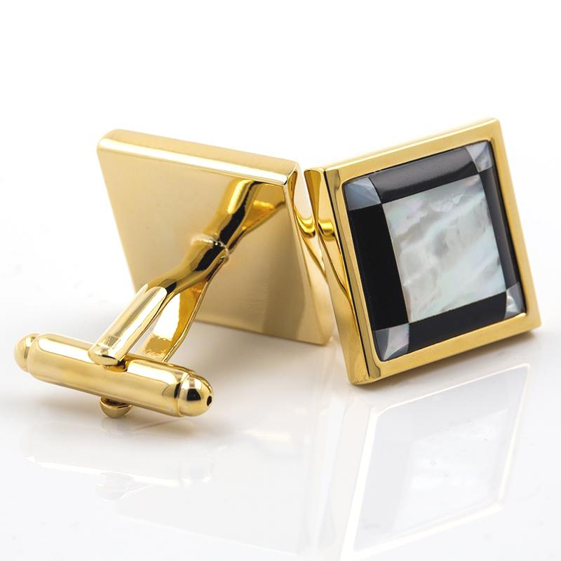 GOLD SQUARE MOTHER PEARL CUFFLINKS