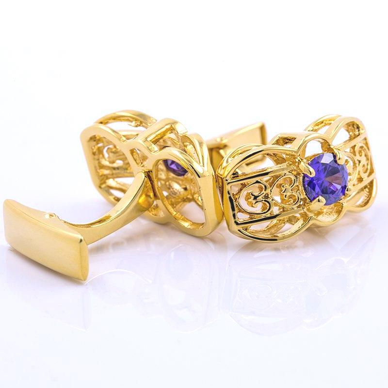 GOLD BLUE STONE CUFFLINKS