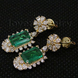 Emerald and Diamond 585 Gold Drop Earrings