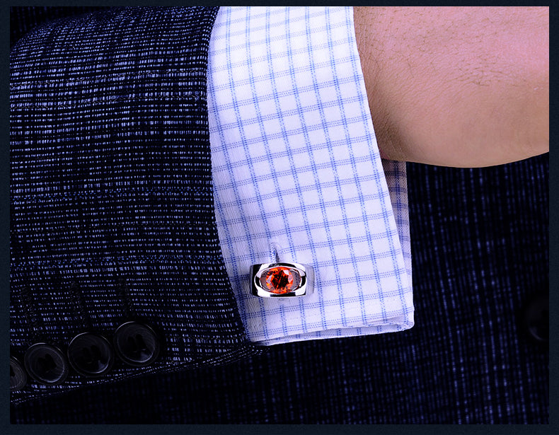Orange Red silver cufflinks