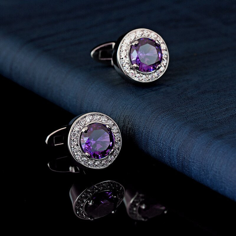 Purple crystal cufflinks