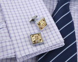 Gold Square silver Cufflinks