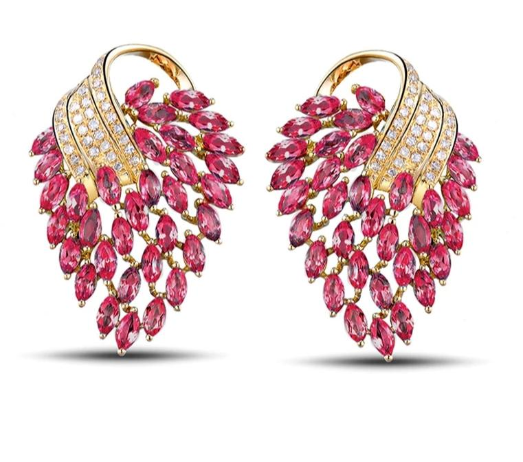Pink Red Ruby and Diamond Earrings