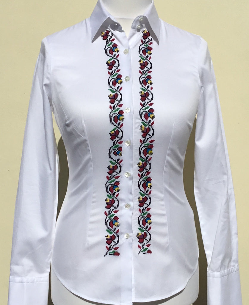 HAND EMBROIDERED WHITE SHIRT - DOUBLE CUFF