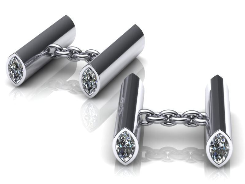 Scrolls Design Diamond Cufflinks