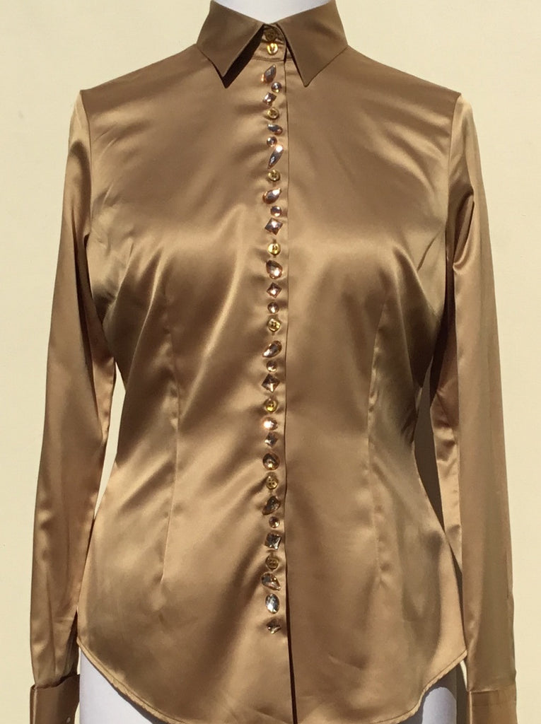 JEWELLERED CUMIN SATIN SHIRT - DOUBLE CUFF
