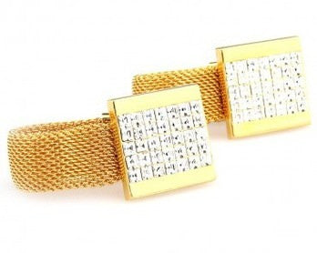 Square bling Gold Copper Cufflinks