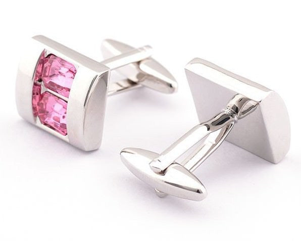 Pink Crystal Shell Cufflinks