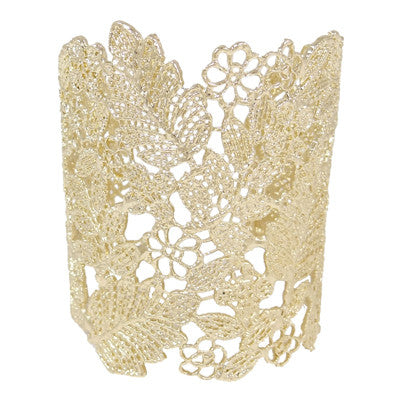Gold Flower Lace Bangle & earrings