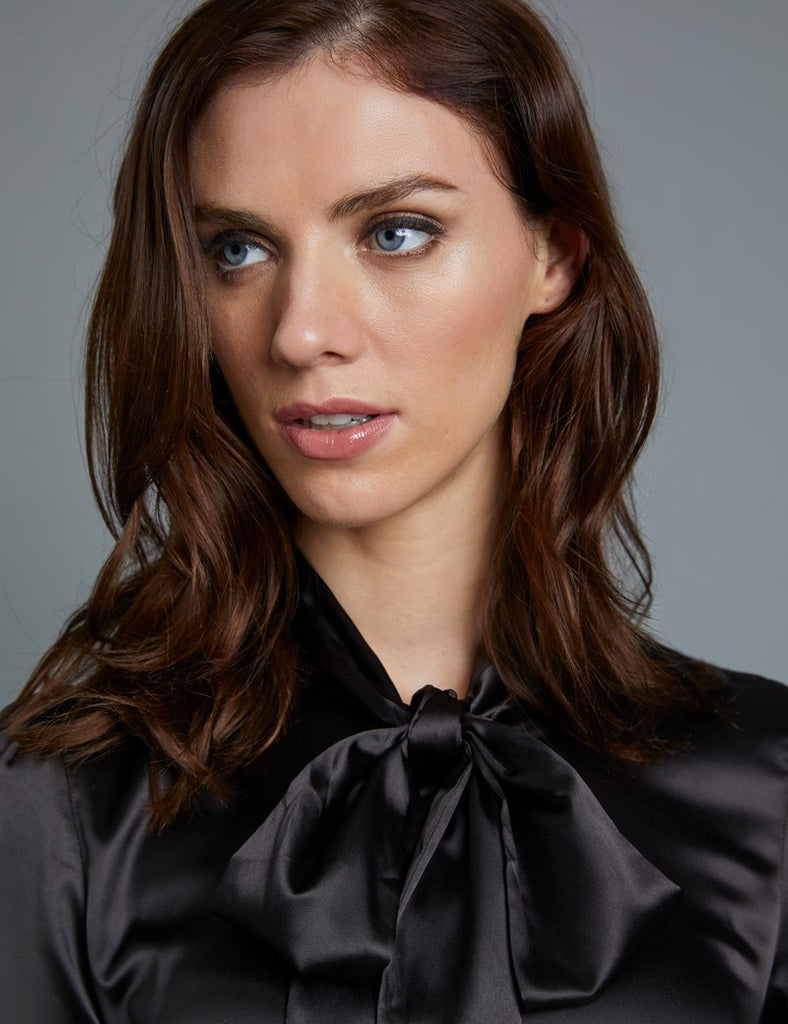 Black Fitted Satin Blouse, Pussy Bow