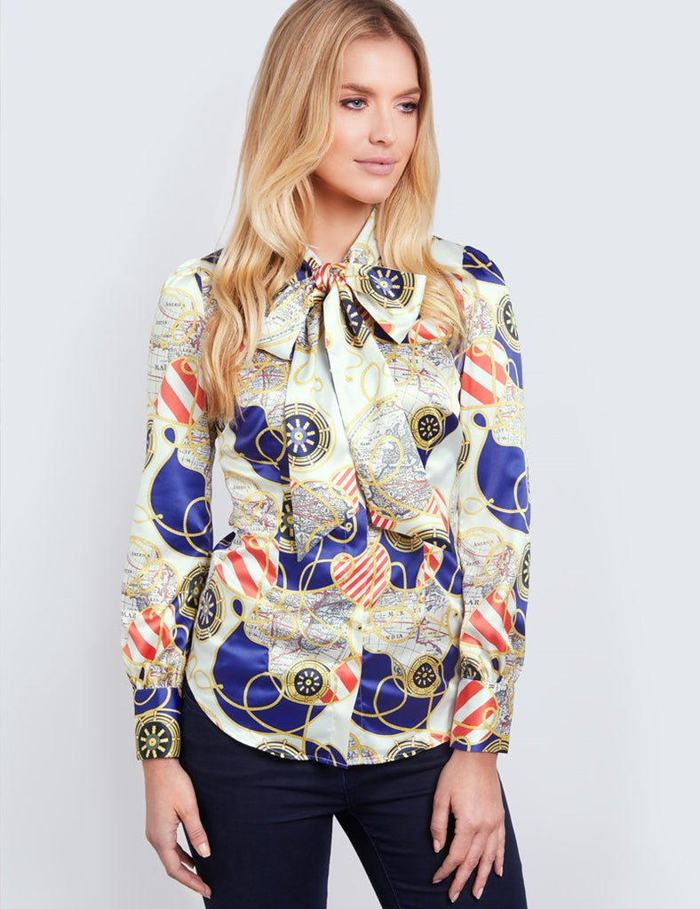 Cream & Gold Rope Print Fitted Satin Blouse