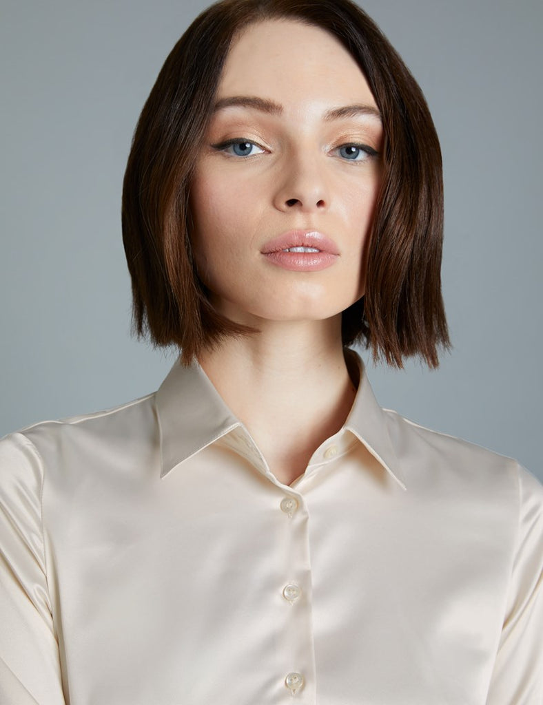 Cream Fitted Satin Shirt - Double Cuff