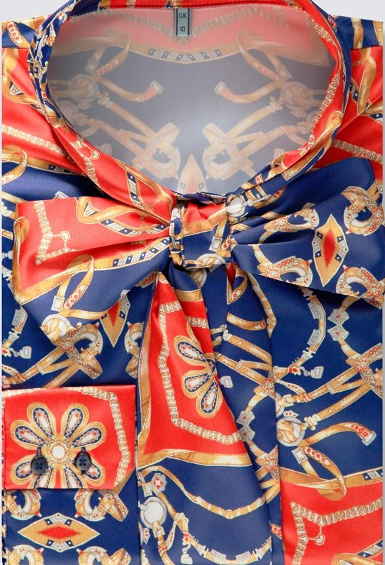 Orange & Blue Print Fitted Satin Blouse