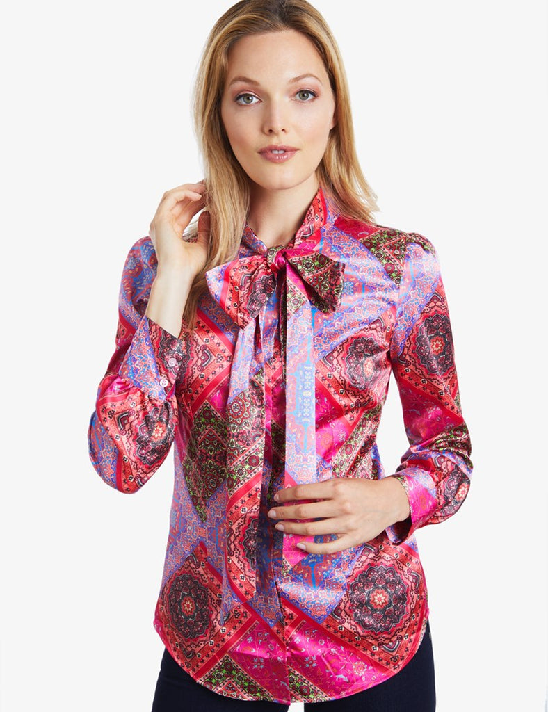 Pink Paisley Fitted Satin Blouse