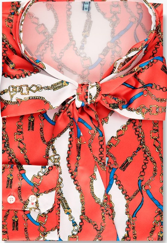 Red & White Chain Design Fitted Satin Blouse