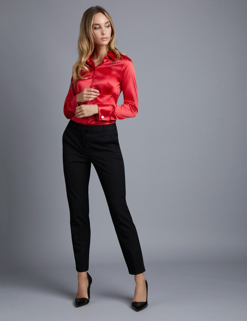 Red Fitted Satin Shirt - Double Cuff