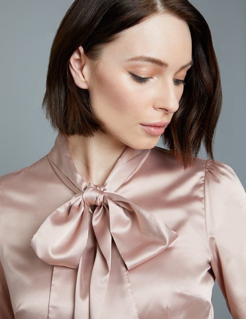 Taupe Fitted Satin Blouse - Pussy Bow