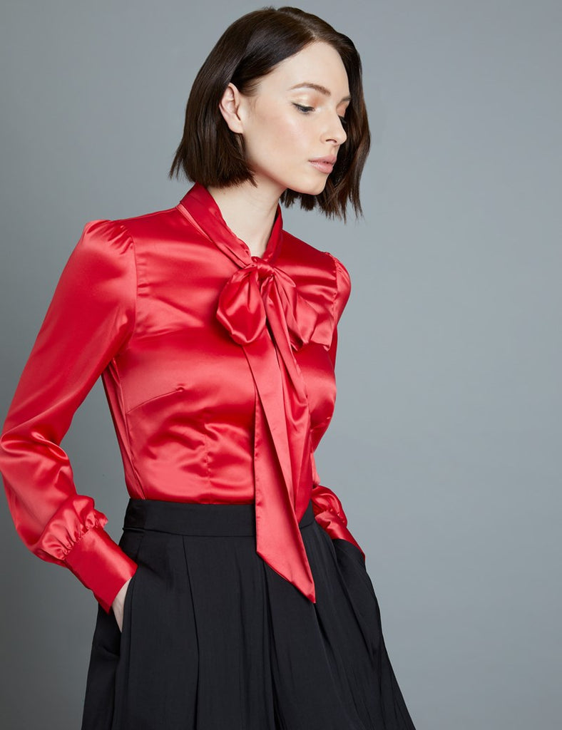Red Fitted Satin Blouse, Pussy Bow