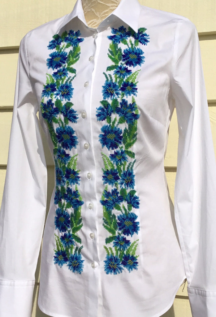 HAND EMBROIDERED WHITE SHIRT WITH BEADS - DOUBLE CUFF