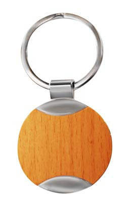 Round wooden keyring with silver detail in presentation box