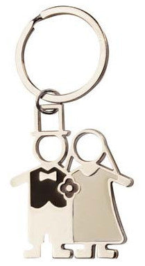 Silver and black keyring 'bridal couple' in presentation box