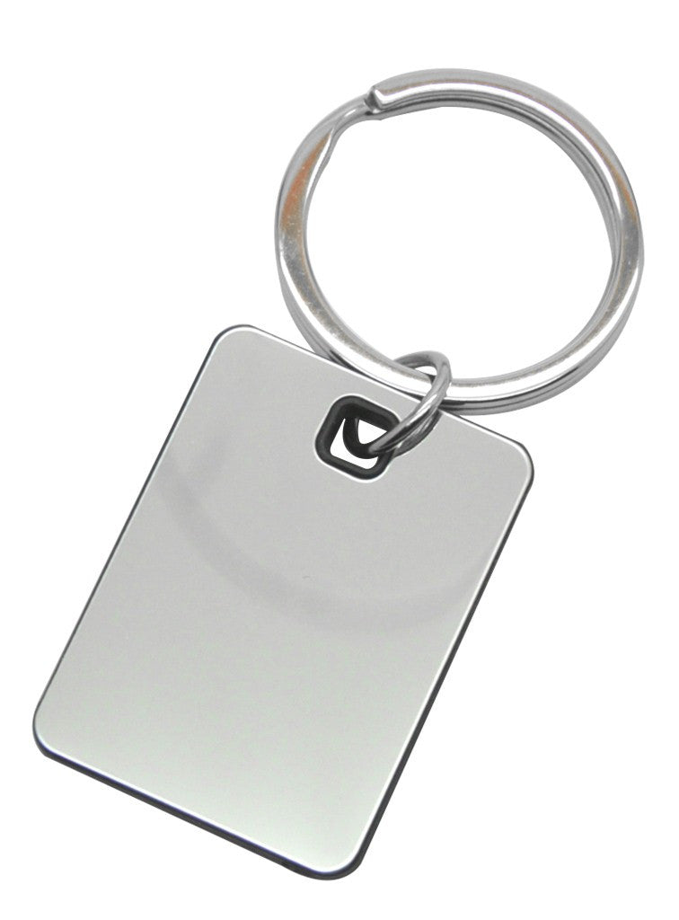 Silver mirror finish and black square keyring in gift box
