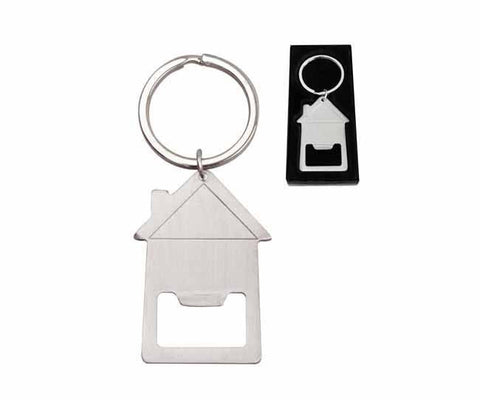 Stainless steel bottle opener keyring 'house' in presentation box