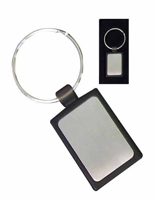 Silver 'rectangular' keyring with black PU in presentation box