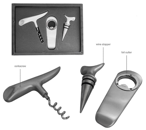 3pc bar set  including corkscrew, wine stopper and foil cutter in gift box