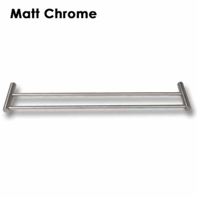 Matt chrome double wall mounted towel bar