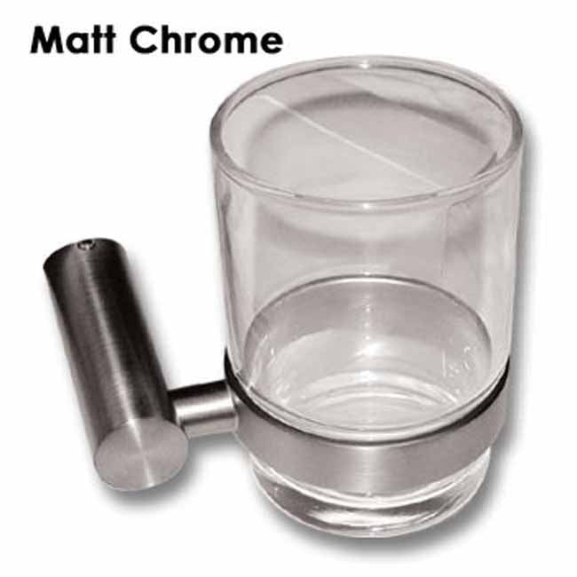 Matt Chrome wall mounted glass holder