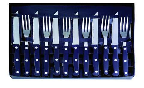12pc stainless steel and abs steak knife and fork set in presentation box