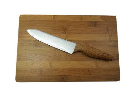 "6"" stainless steel chef's knife and bamboo chopping board"