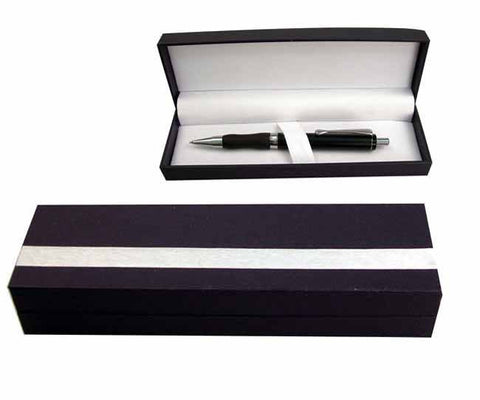 Black PU linear single/double pen case with silver details