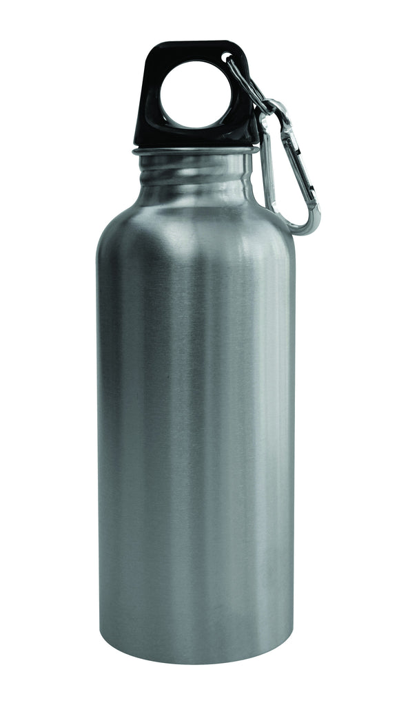 Stainless steel water bottle with carabiner (500ml)