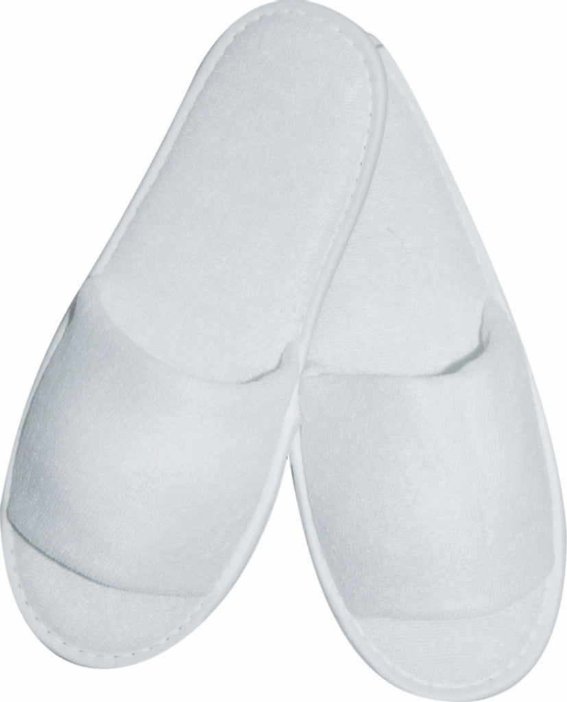 Terry towel slippers - white disposable (open toe) - (28.5cm)
