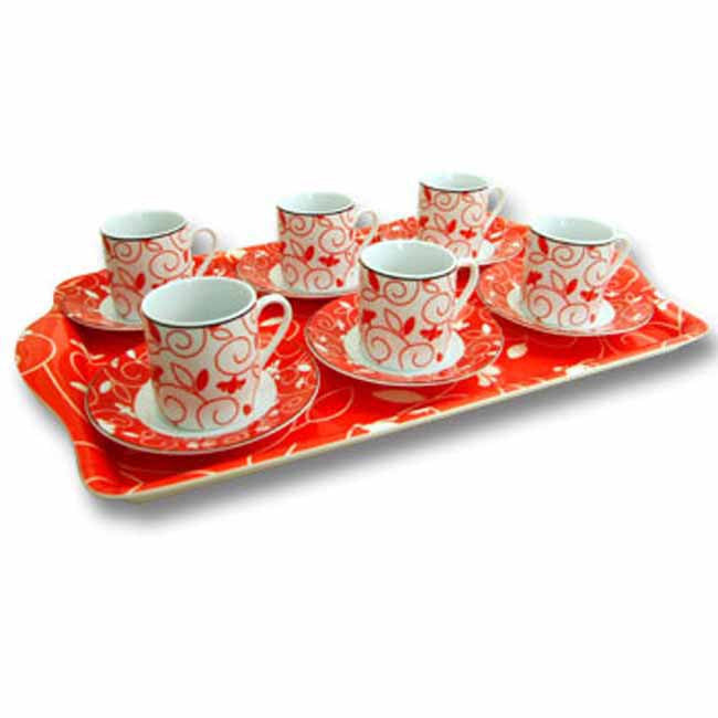 13pc espresso cup and saucer set 'red flower' with matching tray and gift box