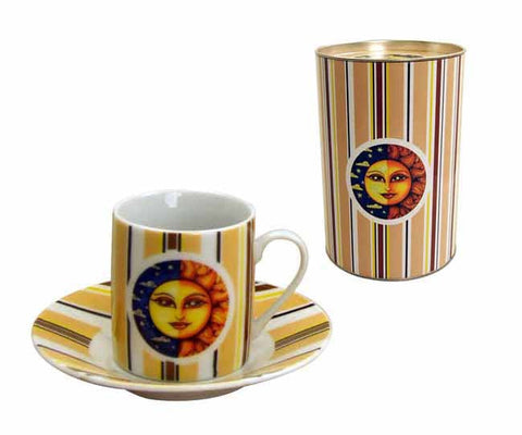 12pc espresso cup and saucer set 'sun' with matching gift tin