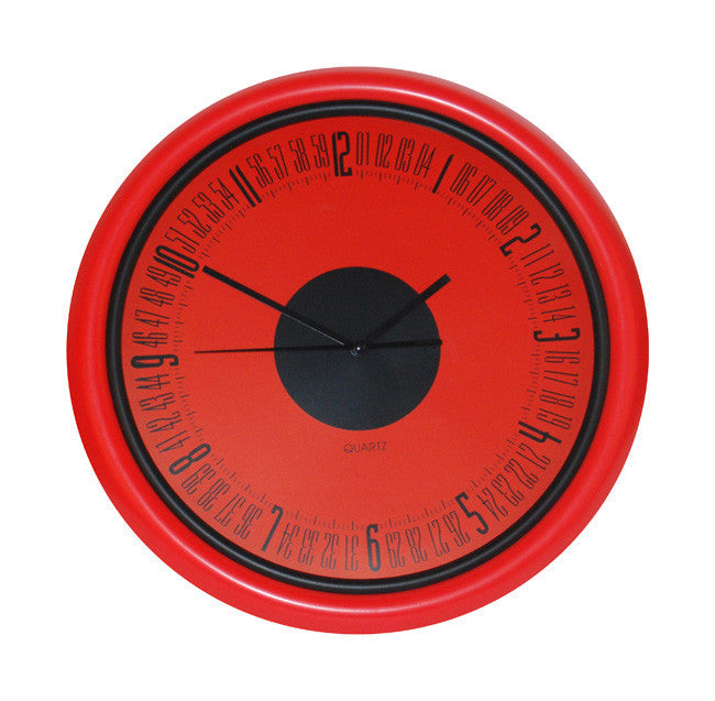 Red wall clock (33cm)