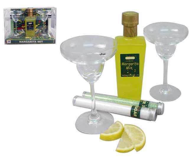 5pc margarita set includes, 2 glasses, sugar, salt and margarita mix in pvc packaging