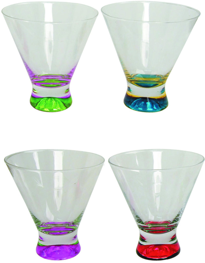 4pc cocktail glasses with coloured bases in pvc packaging