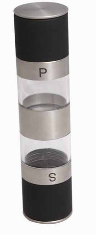 Black and silver salt and pepper grinder